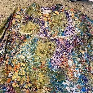 Anthropologie 3/4 floral print shirt